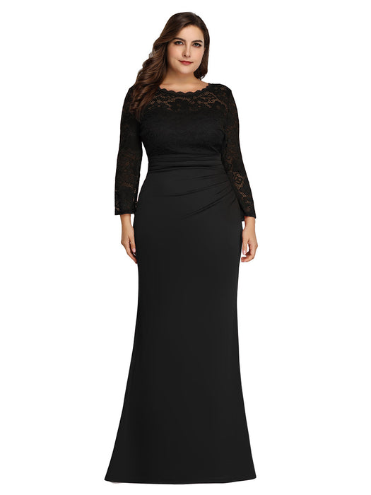 Plus size evening dress V-neck fishtail skirt Black dress