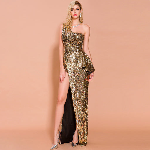 Night Club  Sexy irregular Dazzling Golden Evening dress