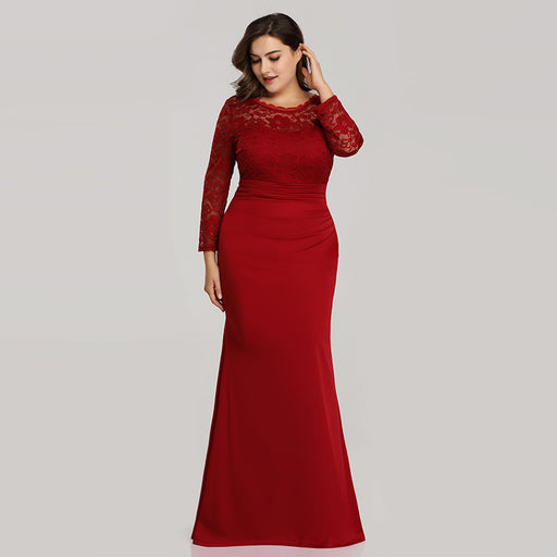 Plus size evening dress V-neck fishtail skirt Red dress
