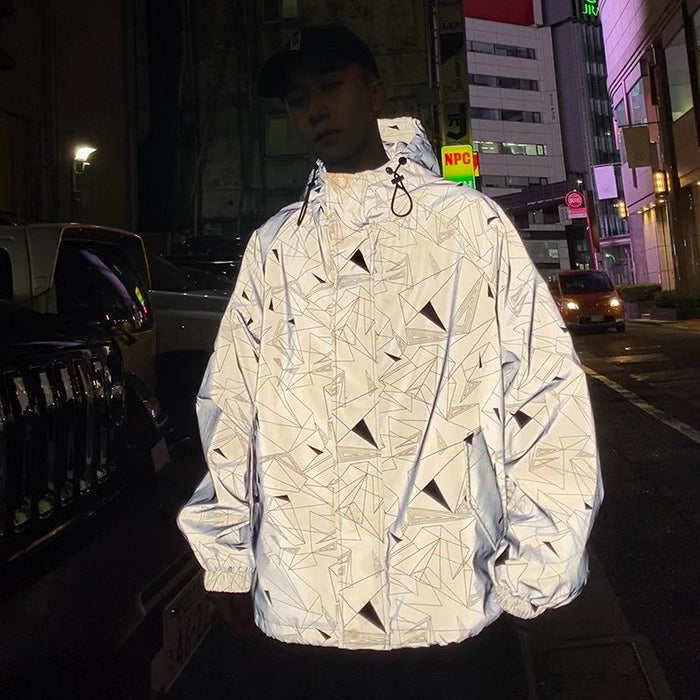 Japan shiny reflective jacket / street fashion Harajuku style street luminous hooded jacket