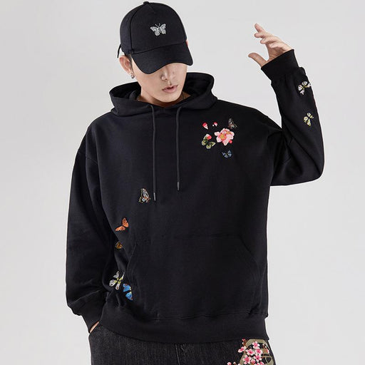 Japanese trendy men's autumn and winter new cherry blossom embroidery hooded sweater