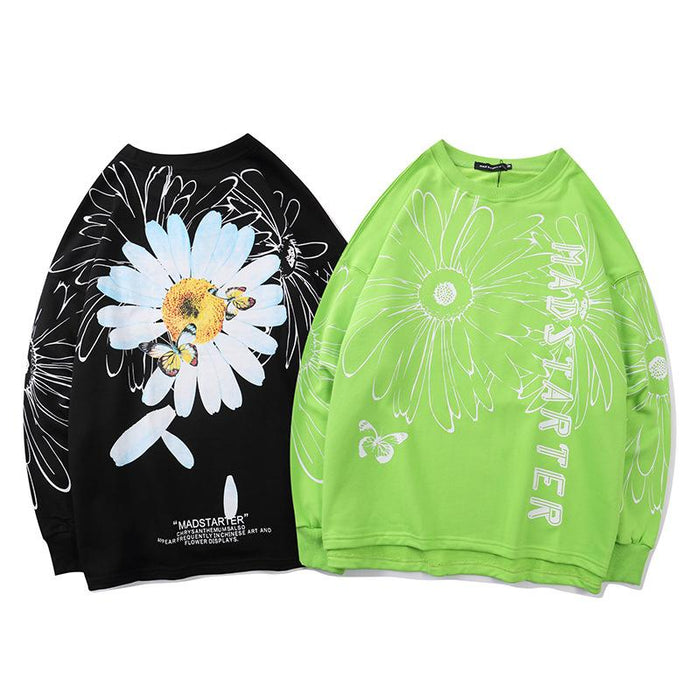 Japanese mint green daisy butterfly crew neck sweater