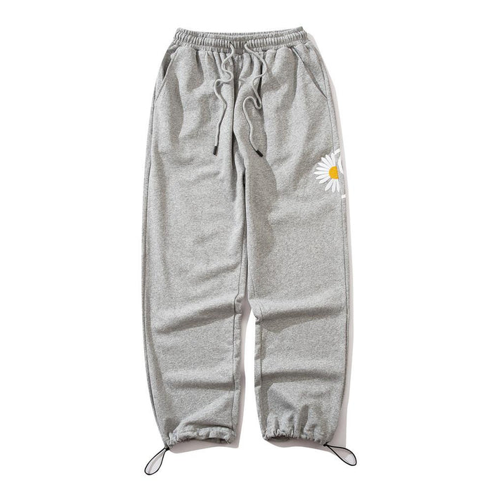 Japanese trendy men's daisy embroidery pant