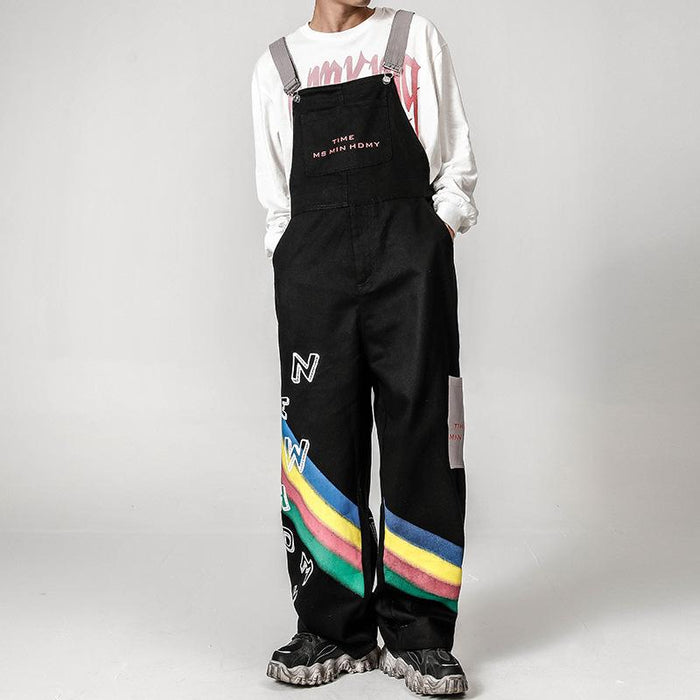 Japanese trendy boy rainbow print overalls