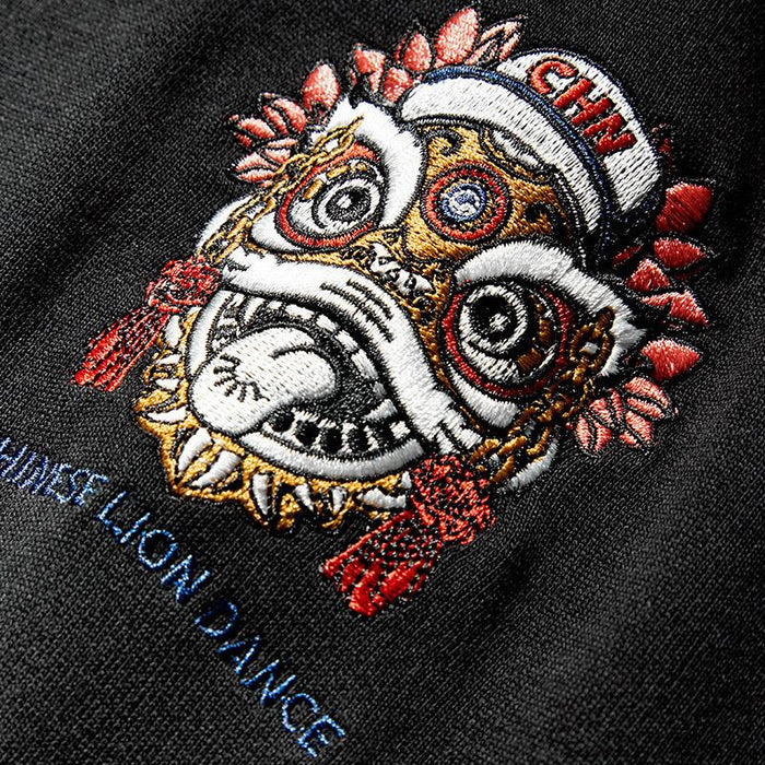 Japanese trendy man Chinese style lion dance hooded cartoon oversize tide brand sweater