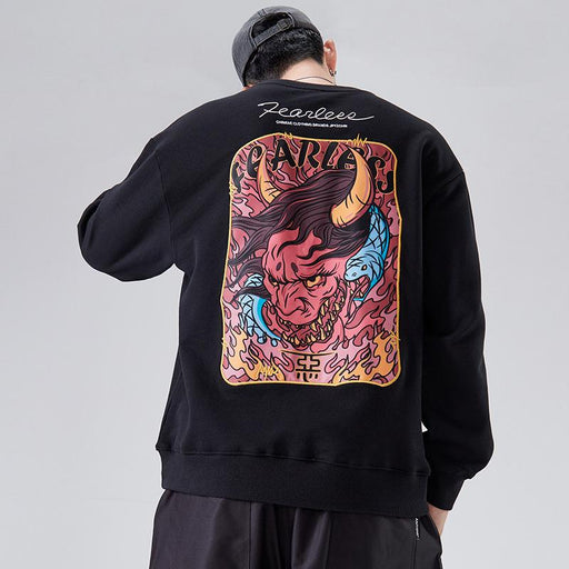Japanese fashion men's embroidered print devil street hip-hop hiphop loose round neck sweater