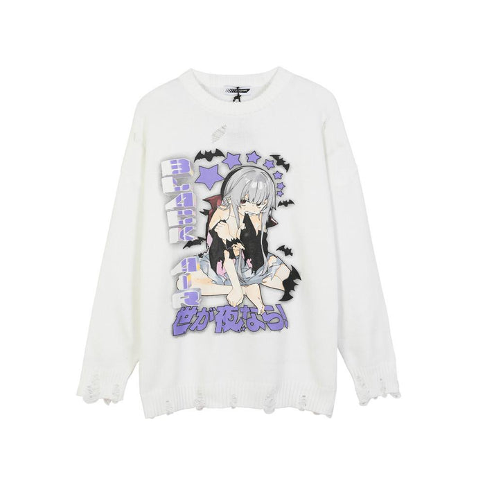 Japanese trendy boy two-dimensional cartoon character print knitted crew neck sweater