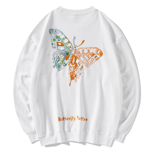 Japanese trendy men's butterfly embroidery Hong Kong style street hip-hop sweater