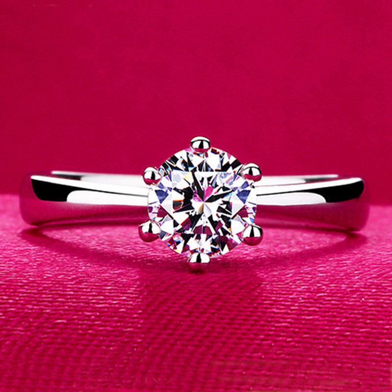 S925 sterling silver glitter zircon ring