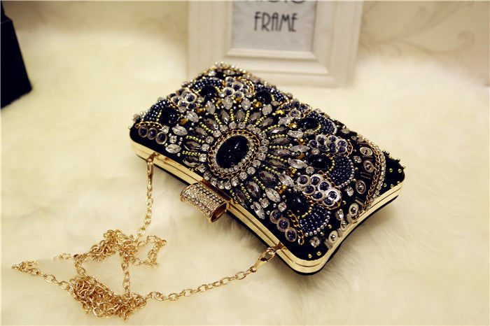 Retro handmade dinner bag literary banquet bag with magnetic buckle shoulder diagonal bag