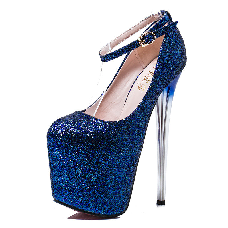 Glitter Very High Rose Blue Navy Heel Dazzling Sparkly Platform