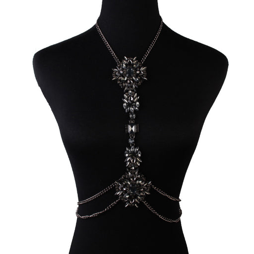 Glitter Sparkly Sequins Bling Fashion diamond-studded flower body chain