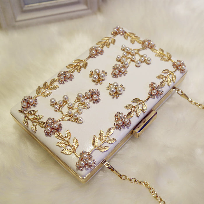 Evening bag leaf pearl chain clutch