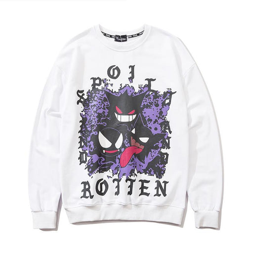Japanese loose little devil graffiti crew neck Sweatshirt