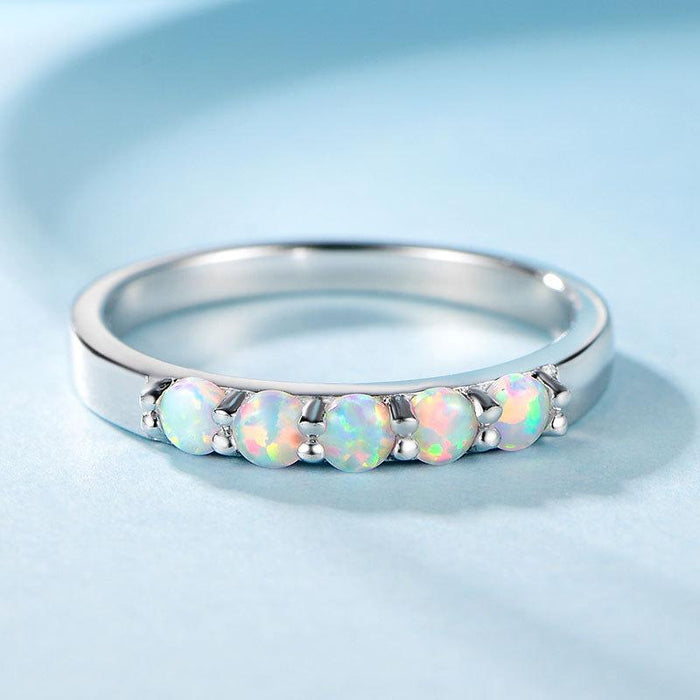 Sterling silver S925 ring set with white opal stone