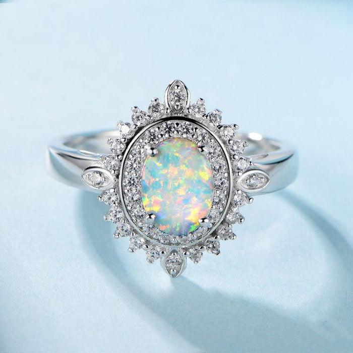 S925 sterling silver oval opal ring for women