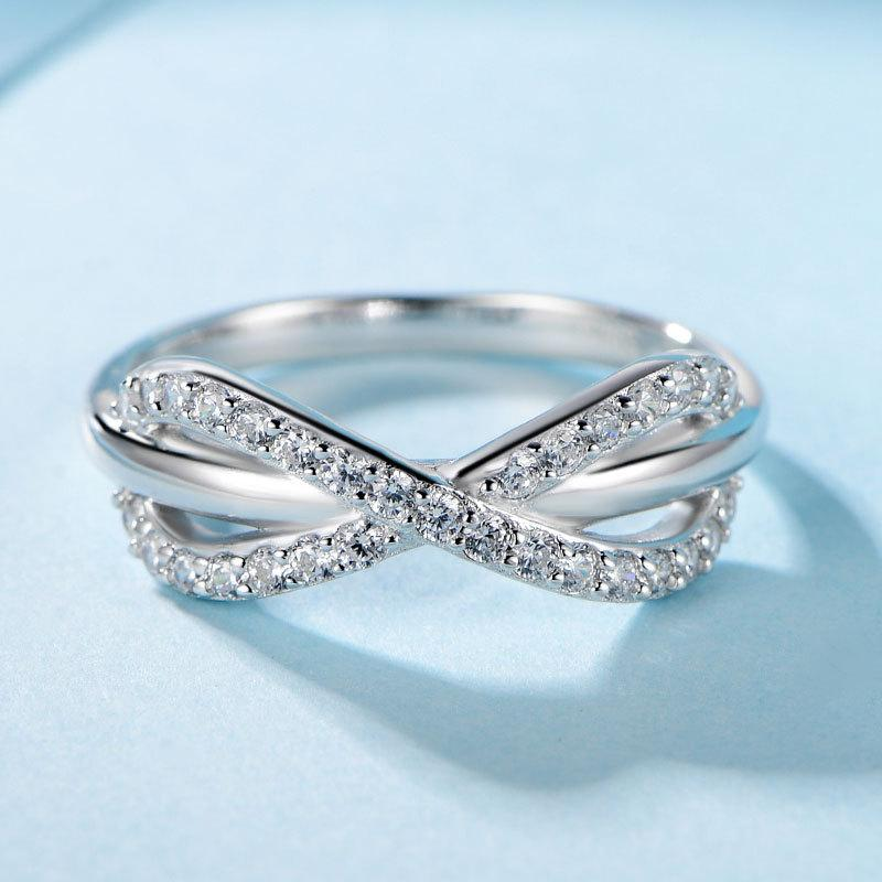 Sterling silver diamond ring