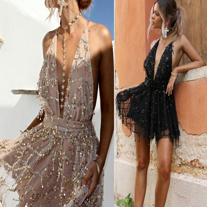 Halter with sequins, deep v-neck, sexy lace-up dress with open back and large swing