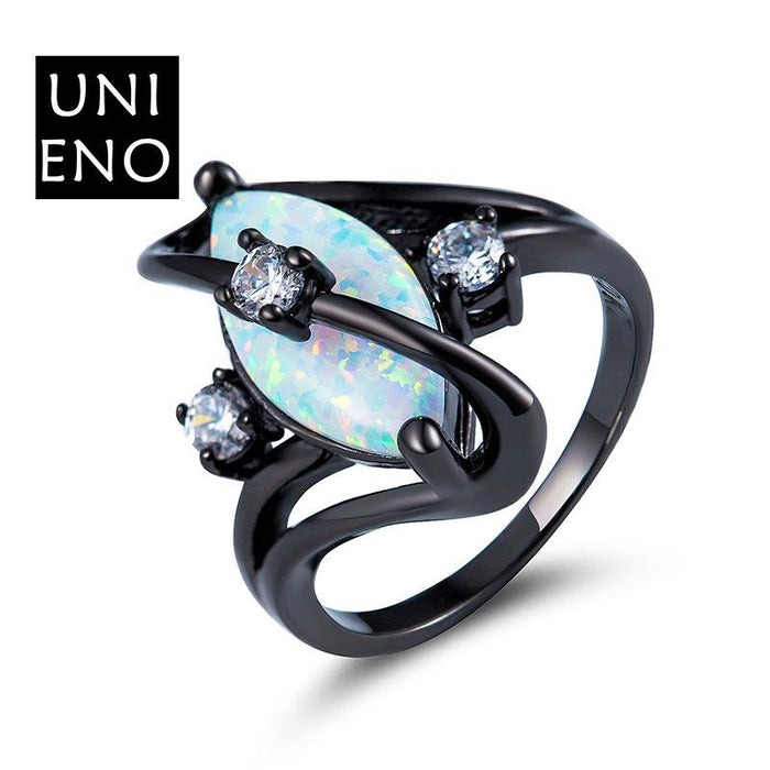 Black horse eye opal ring