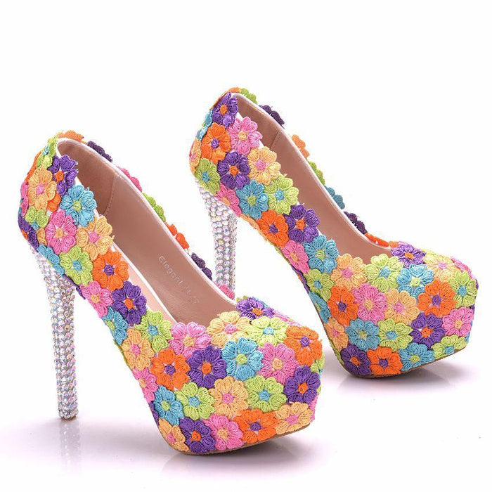 Glitter  Heels -Colourful Lace Flower High Heels