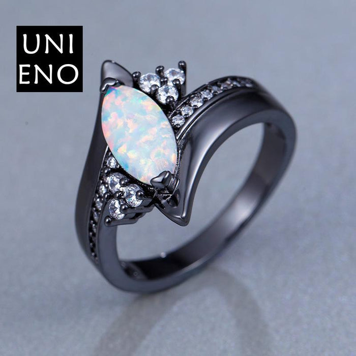 Horse eye black gold opal ring