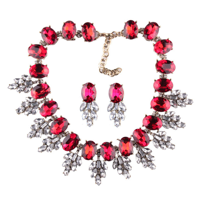 Sparkly Glitter Dazzling Fashionable temperament sets gem long necklace