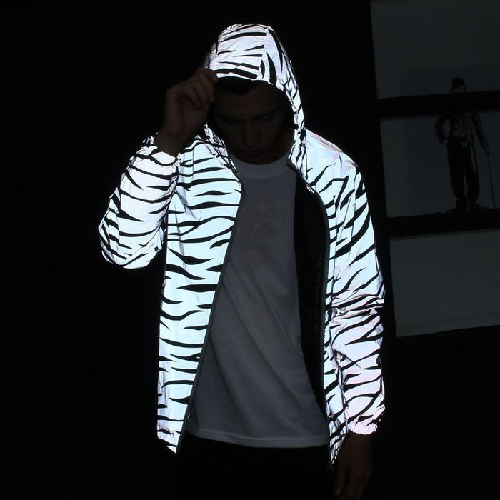 Japanese trendy luminous zebra striped trench coat couple jacket