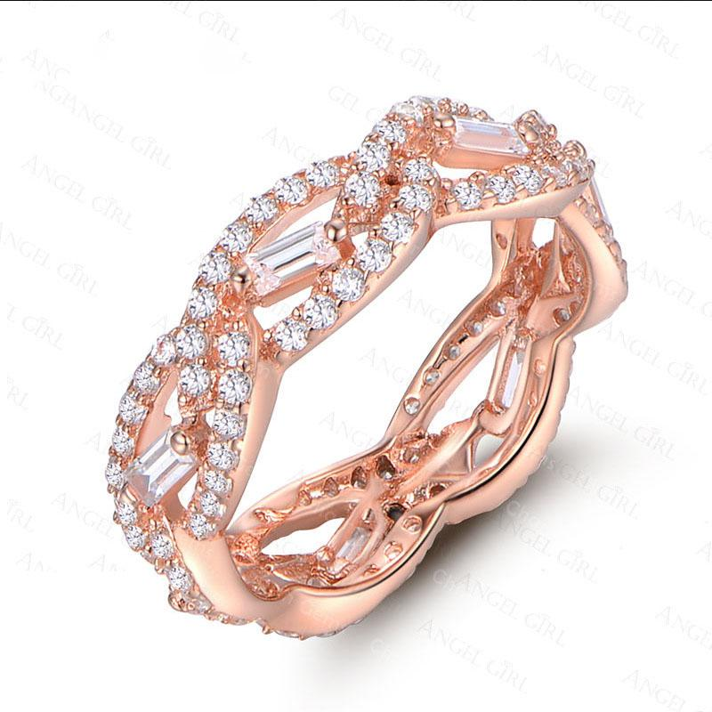 Rose gold ring-set zircon ring wedding ring