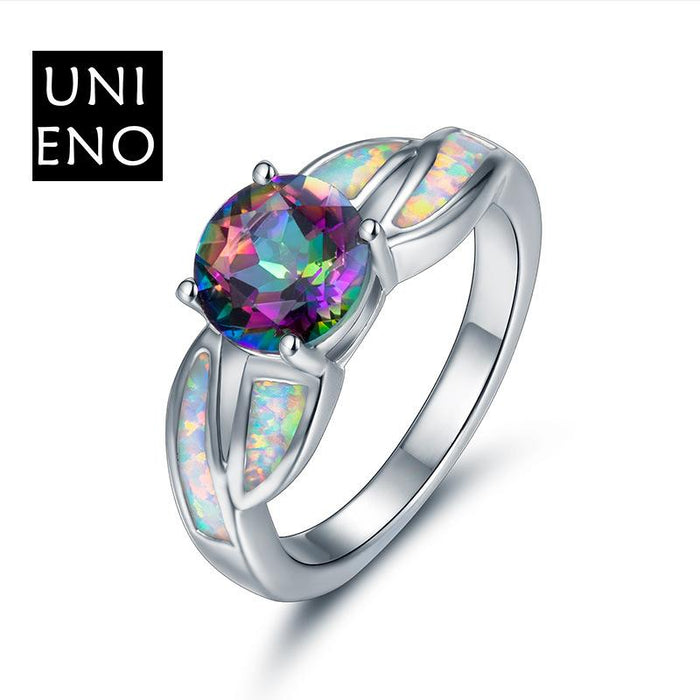 Round natural colorful stone natural white crystal opal platinum ring