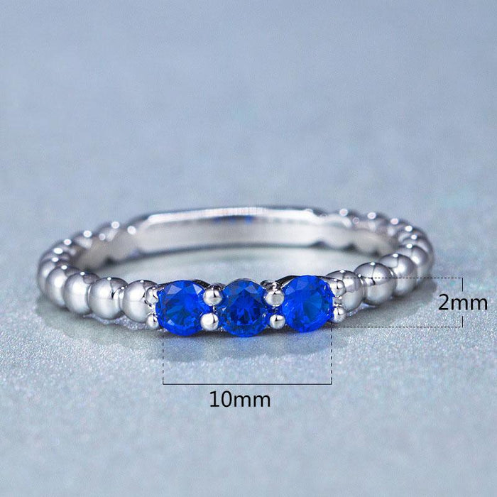 Fashionable Explosion Ring Micro-set Blue Zircon Copper Plated Jewelry