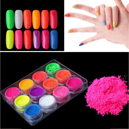 Sparkly Nail polish powder 12 colors Makeup Decorations