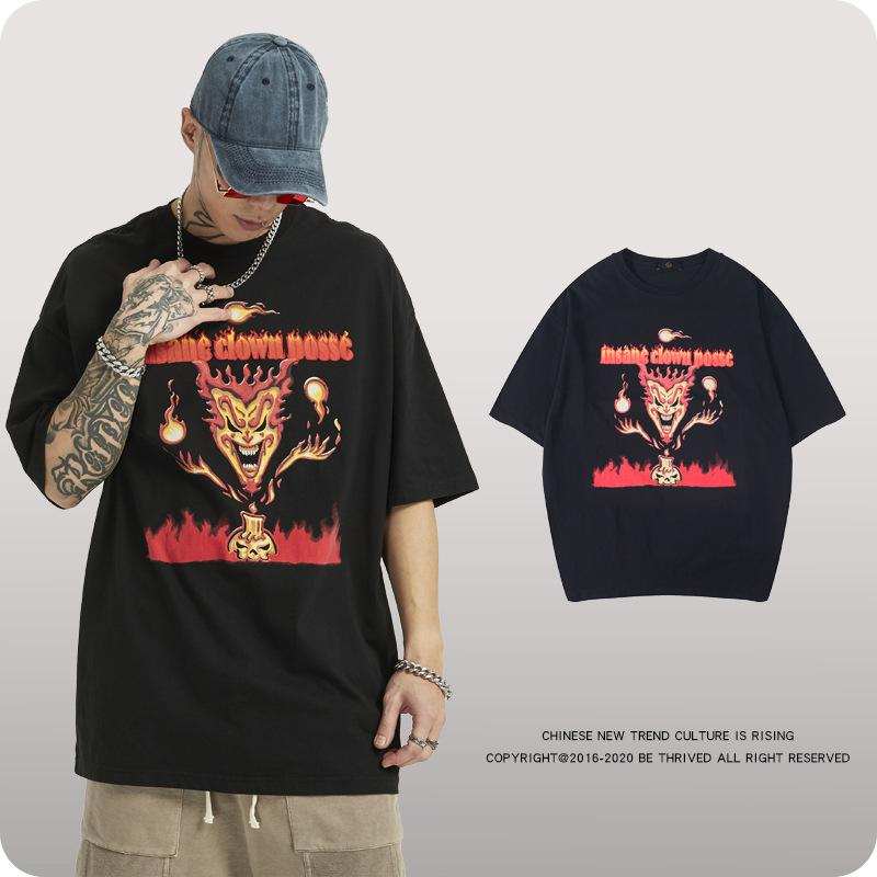 Grunge Damon Flame Little Devil Dark Tide Loose T-shirt