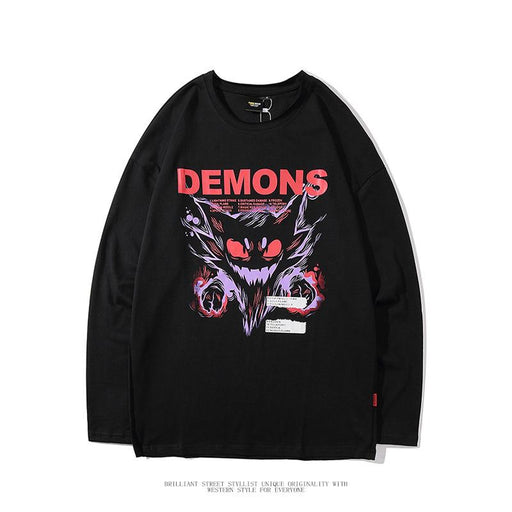Japanese dark demon stitching long-sleeved fake two-piece round neck T-shirt