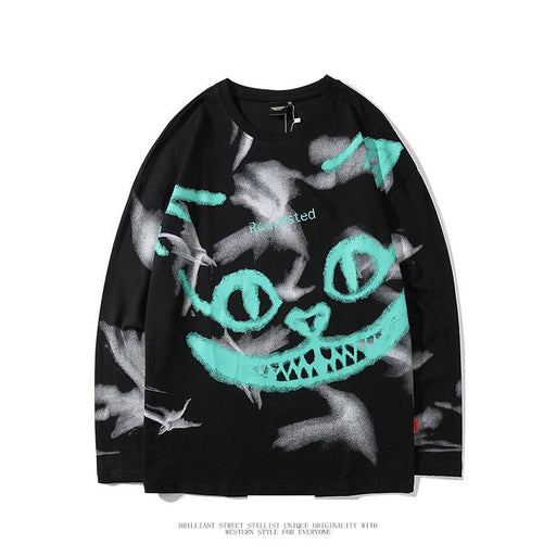 Japanese street fashion brand dark style graffiti printing round neck long-sleeved T-shirt base Sweatshirt