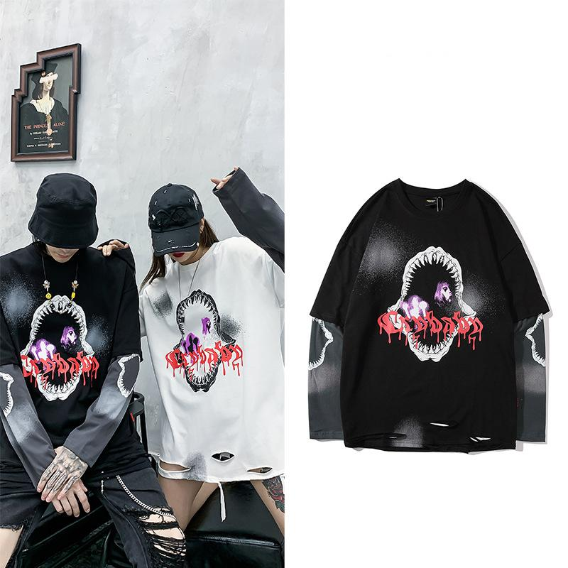 Japanese street fashion brand fake hem hole long sleeve T-shirt