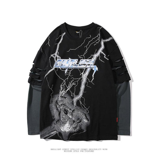 Japanese round neck T-shirt men and women bf fashion brand dark hip-hop lightning Sweatshirt