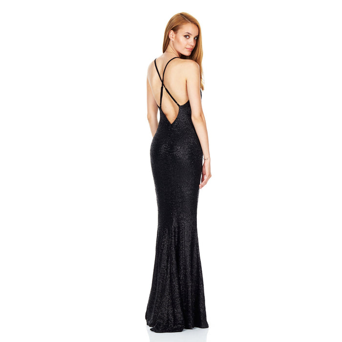 Deep v-neck halter club evening dress sequined sexy backless slit gown long dress