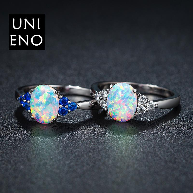 Opal blue zircon ring