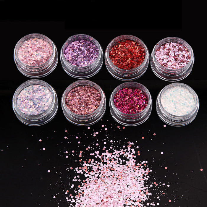 Super sparkly pink sequins for nail art mix