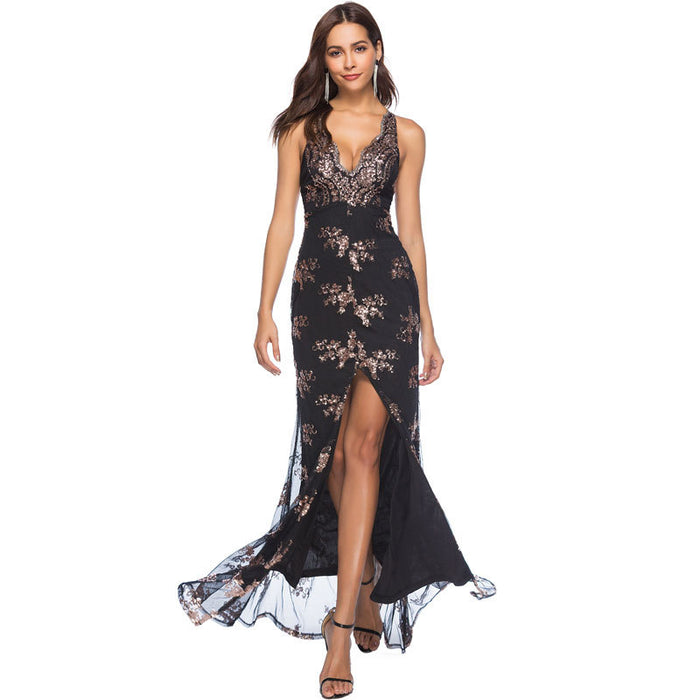 Sequined halter belt deep V neck sexy halter skirt slit floor length dress