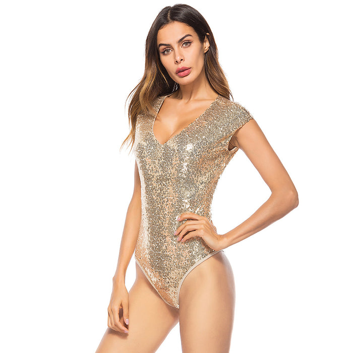 Sexy Sequin deep V-neck one-piece swimsuit