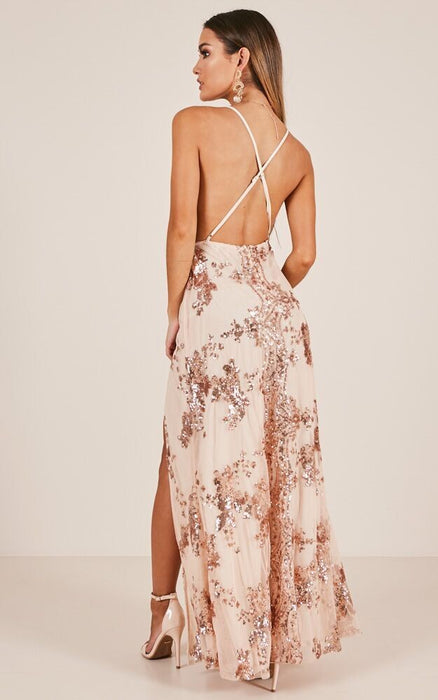 Sequined strap deep V-neck sexy backless high split dress