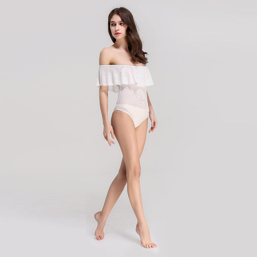 White Lotus leaf Tube top Jumpsuit Swimsuit