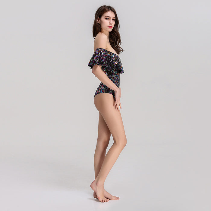 Sequins  Lotus leaf Word shoulder Jumpsuit Swimsuit
