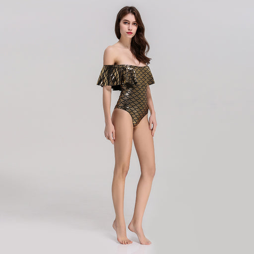 Dazzling Golden Lotus leaf Tube top Jumpsuit