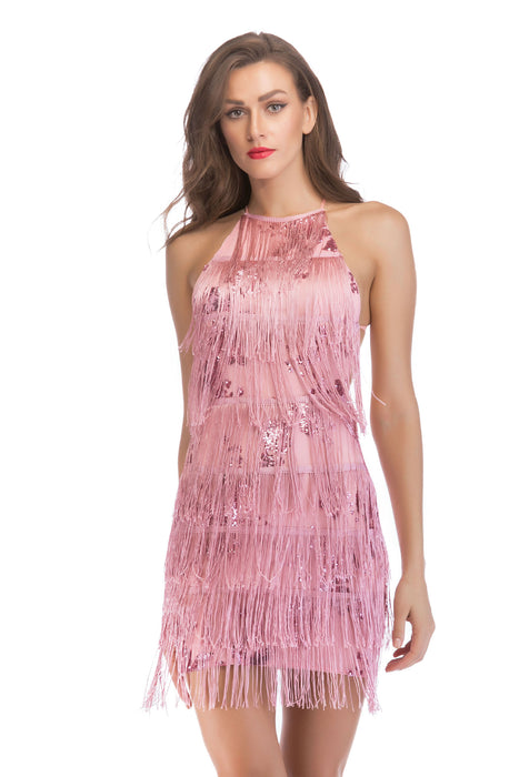 Sexy fringed halter strap dress