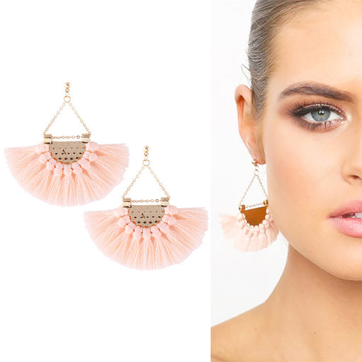 Scalloped tassel earrings Bohemian earrings jewelry