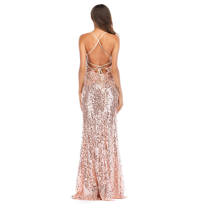 Sexy halter skirt nightclub sequined floor-length gown deep V beaded dress
