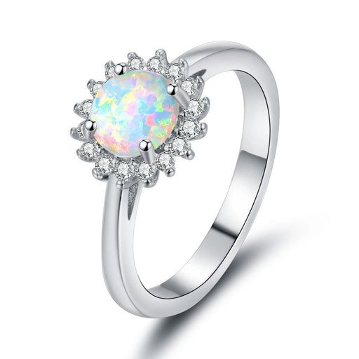 Generous round opal 925 sterling silver ring
