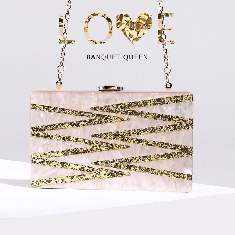 Sequinned patchwork hand-held dinner bag street snap shoulder slant bag